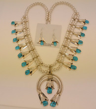 Sleeping Beauty Turquoise Squash Blossom Necklace & Earrings