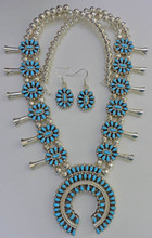 Turquoise Side of Squash Blossom Earring Set