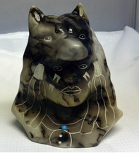 Chief ' Head with Wolf Pottery