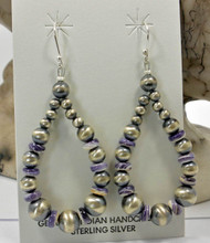 Navajo Pearl Wampum Sterling Silver Earrings