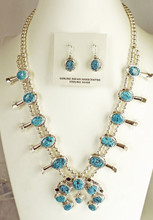 spiderweb squash blossom Necklace earrings set