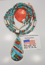 Daniel Coriz Multi Stone Turquoise Inlay Necklace
