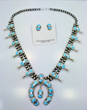 Turquoise Squash Blossom Necklace Earrings Set