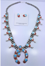 Turquoise Coral  Squash Blossom Necklace Earrings Set
