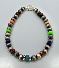 Multi Stone Navajo Pearl Bracelet 7 1/2 inches Long