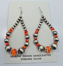 Orange Spiny Oyster Navajo Pearl Earrings