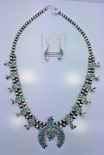 Zuni Squash Blossom Necklace Earrings Set Needle Point