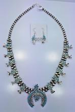 Zuni Squash Blossom Necklace Earrings Set Needle Point