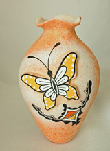 Native American Pottery Hand Painted Butterfly Pottery by Tony Lorenzo, Zuni Pueblo