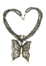 Vincent Platero Butterfly Pendant Navajo Pearl Sterling Silver