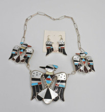 zuni bobby and Corraine Shack Necklace Earrings Set Sterling Silver