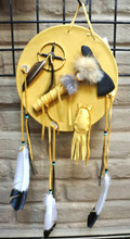 Navajo Shield with Tomahawk Curtis Bitsui Leather Shield