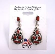 Red Corral Earrings Navajo Melvin Chee