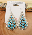 Navajo Sterling Silver Sleeping Beauty Turquoise Cluster Earrings