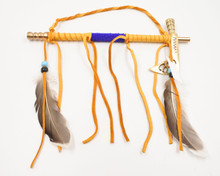 Navajo Peace Pipe  Brass with Blue Beads