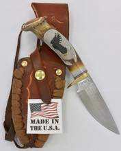 "Richardson Knife Carved Eagle  4"" Blade Long  Leather Sheath"