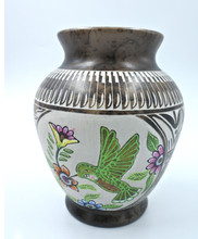 Authentic Navajo Horse Hair Pottery Hand Painted Hand Etched Vase Hummingbird
