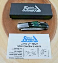 SANTA FE STONEWORKS LOCK BACK KNIFE chrysocolla Jet Stone 440C Pocket Knife