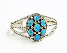 Kingman Turquoise Cluster  Bracelet  Navajo