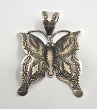 Navajo Sterling Silver Pendant Vincent Platero Large Butterfly Repousse Stunning