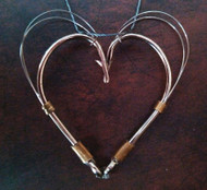 Heart Pendant Circle-Style on braided fishing line necklace.