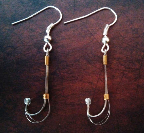 Survival fish hook earrings.