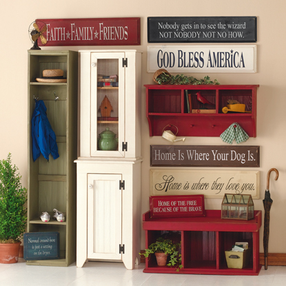 Locker, Jelly Cupboard, Hutch, Cubby Bench, Cubby Shelf, Signs
