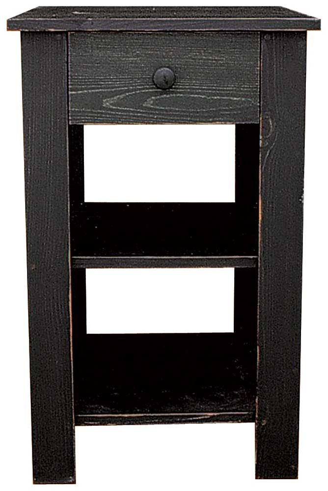 Delightful Tall End Table With Drawer. Price: $243.99. Shown In Old Black
