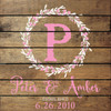 Style 1: Shown in Walnut Stain, Cottage White lettering, and Pink accent