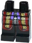 Minifig Legs - Black with Dark Red, Gold Robe, Silver, Purple Sash
