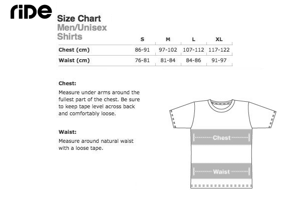 Ride Classic T-shirt Size Guide