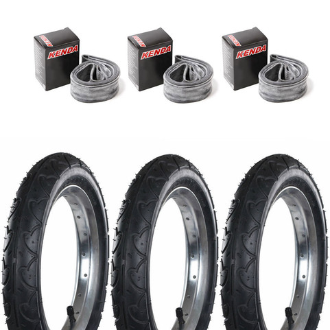 Kenda K909A 3X Tyres and 3X Bent Valve Inner Tubes | Pushchairs, Buggy (KT01B - KT92B90)