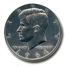 "1964 Kennedy Half Dollar 3"" Giant Metal Coin Replica"