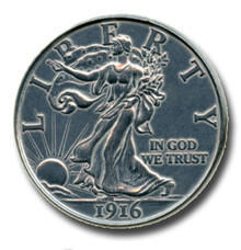"1916 Walking Liberty Half Dollar 3"" Giant Metal Coin Replica"