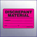 Discrepant Material Quality Assurance Label 4 x 3