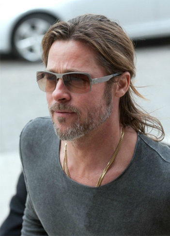 e7feaa53f9 Brad Pitt wearing the ic! berlin mahroosa sunglasses in gunmetal at the  Golden Globe Awards. Also the mahroosa in the color pearl on his leisure  time.