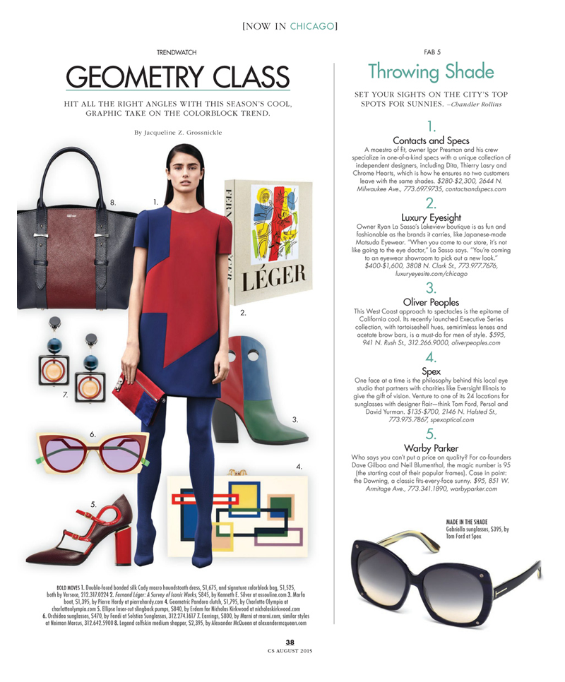 CS Magazine Modern Luxury Chicago press release on Luxury Eyesight