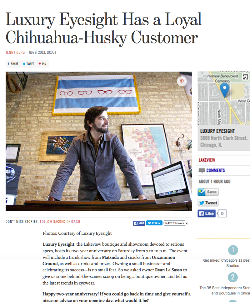 Racked Chicago press release on Luxury Eyesight