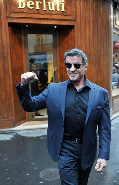 Sylvester Stallone Wearing Gold Amp Wood H27 Sunglasses