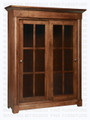 Oak Hudson Valley Library Cabinet With 2 Sliding Glass Doors
