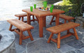 Unfinished Log Harvest Dining Table  30''H x 42''W x 42''D