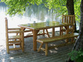 Unfinished Log Harvest Dining Table  30''H x 72''W x 42''D