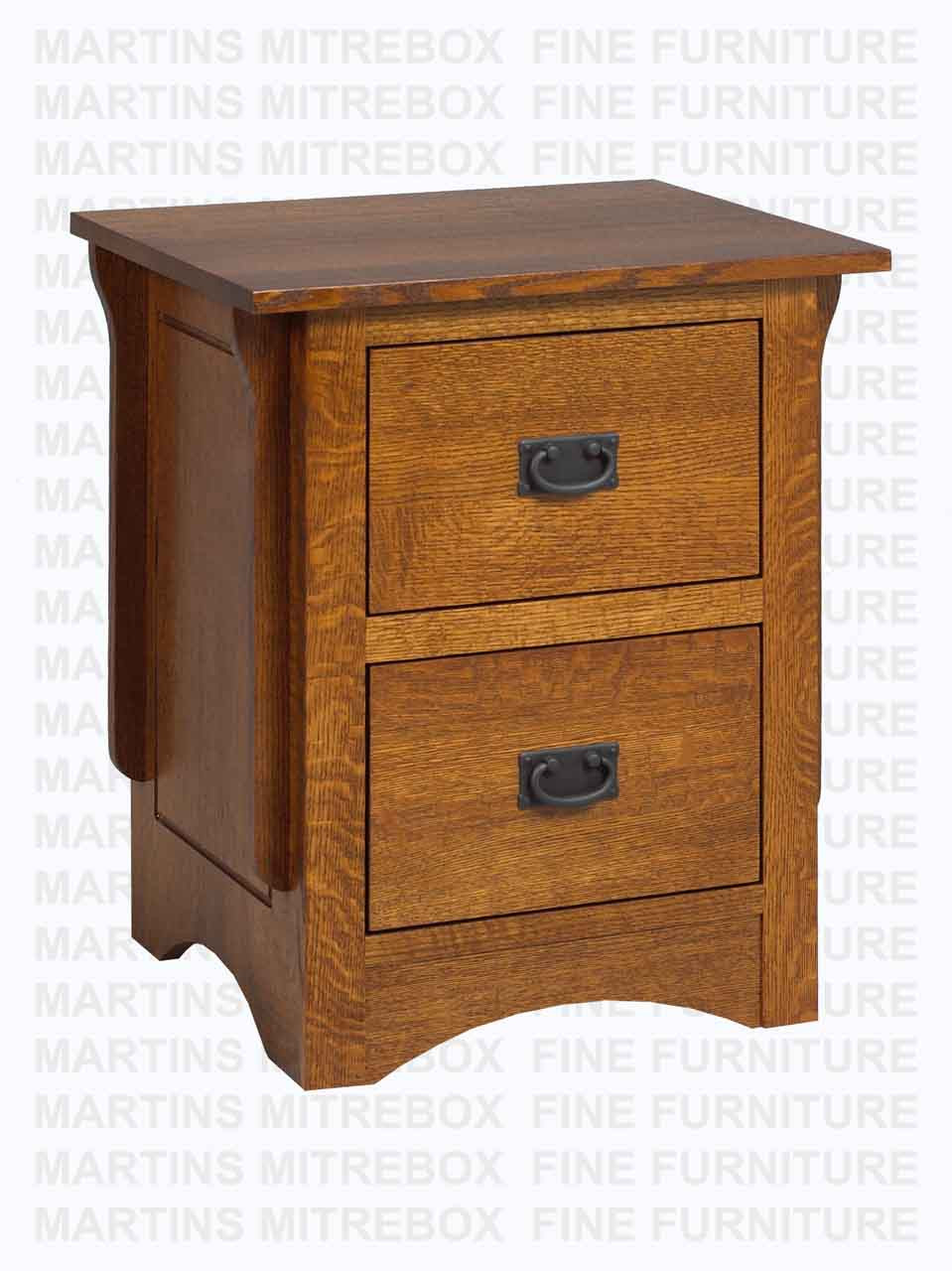 Oak Southern Mission Nightstand 2 Drawers 18 D X 20 W X 28 H