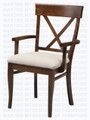 Maple X Back Arm Chair With Upholstered Seat