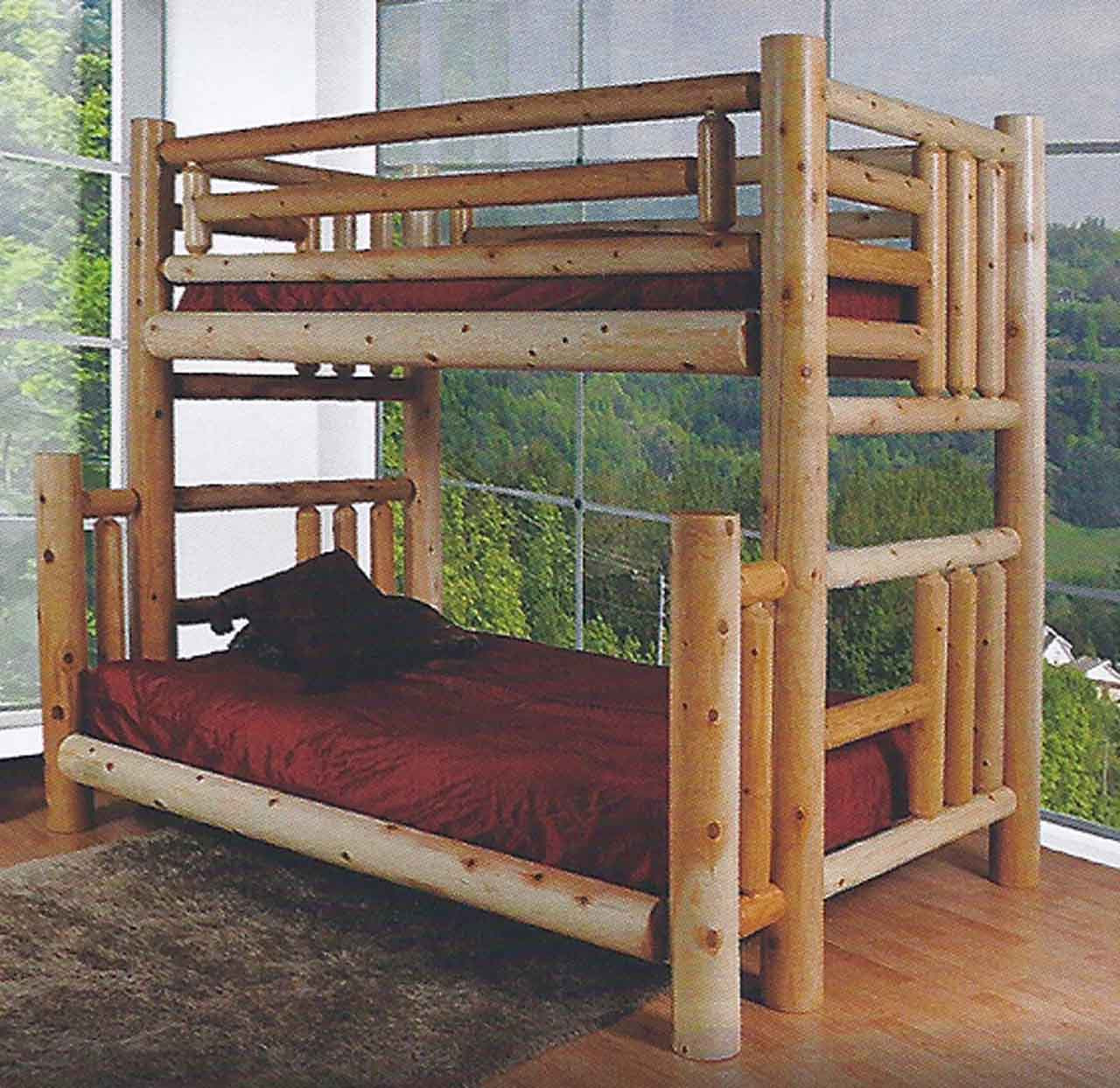 Picture of: Log Bunk Bed Kits Finished Northern Lakes Log Twin Over Queen Bunk Bed