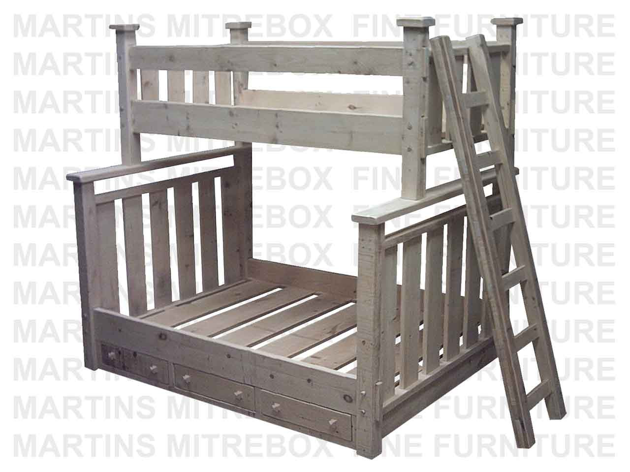Picture of: Pine Rustic Picket Single Over Double Bunk Bed 59 D X 84 W X 78 H