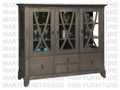Oak Florence China Cabinet 20''D x 61''W x 54''H With 3 Glass Doors And 4 Drawers