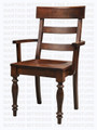 Maple Montero Turned Leg Double Ladder Arm Chair With Wood Seat