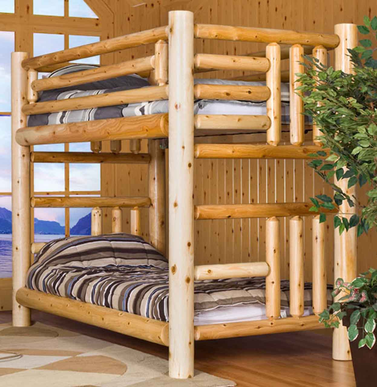 Log Bunk Beds By Leisure Craft Finished Northern Lakes Log Queen Over Queen Bunk Bed