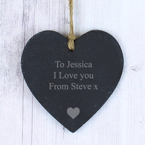 Personalised Engraved Heart Motif Slate